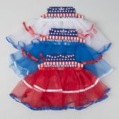72 Units of Tutu Patriotic Skirt W/satin Trim 3ast Red/white/blue Solid W.multicolor Trim/header Card [G88178]
