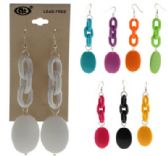36 Units of Silver tone French hook dangle earrings in assorted colors with a links and and oval accent - Earrings