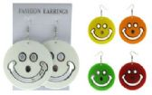 36 Units of Silver tone French hook earring acrylic smiley face dangles - Earrings