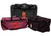 "12 Units of 30"" Black with White Polka Dots Tote"