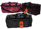 "12 Units of 25"" Black with White POlka Dots Tote"