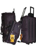 "6 Units of ""E-Z ROll"" 22"" Polka Dots Rolling Duffel-Black/Pink"