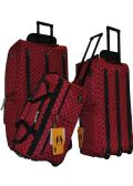 "6 Units of ""E-Z Roll"" 22"" Polka Dots Rolling Duffel-Red W/Black"