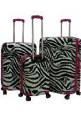 """""""E-Z Roll"""" Black Safari 3pc Spinner Wheel Hardshell Luggage - Travel"""