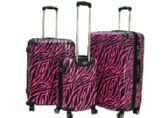 "E-Z Roll"" 3pc Pink Safari Spinner Wheel Hardshell Luggage - Travel"