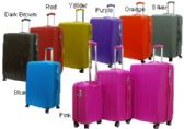 """2 Units of """"E-Z Roll"""" 3pc Hard Shell Luggage-Red"""