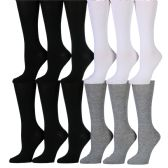 180 Units of Womens Solid Color Knee High Socks Black White Gray