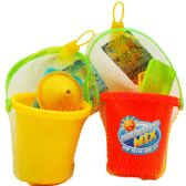 "48 Units of 4.5"" BEACH BUCKET W/ ACSS IN PEGABLE NET BAG, 2 ASSRT - Beach Toys"