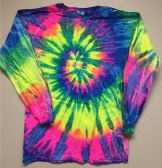 12 Units of Tie Dye Long Sleeve T Shirt Neon Rainbow Assorted Sizes - Girls Tank Tops and Tee Shirts