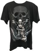 24 Units of Black T Shirt Skull Rider with Multiple Skulls Assorted