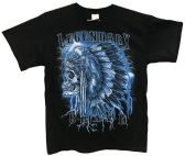 24 Units of Black T Shirt Legendary Brave Native Indian Assorted