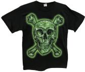 24 Units of Black T Shirt Skull and Bones with Leaf Assorted Size