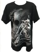 24 Units of Black T Shirt Girl Skull Rider with Big Skull Assorted