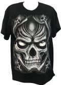 24 Units of Black T Shirt Large Skull Assorted Size