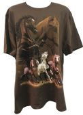 24 Units of Brown T Shirt Five Galloping Horses Assorted Sizes