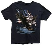 24 Units of Nave Blue T Shirt Eagle and American Flag Assorted Size