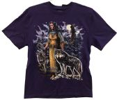 24 Units of Purple T Shirt Native Indian Woman Eagle Wolves