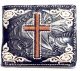 12 Units of Embroideried Cross Black Bi Fold Wallet - Leather Purses and Handbags