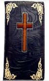 12 Units of Embroideried Cross Black Long Unisex Wallet - Leather Purses and Handbags