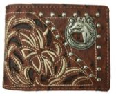 12 Units of Embroideried Hose Head Bi Fold Wallet Brown - Leather Purses and Handbags