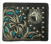 12 Units of Bi Fold Embroideried Hose Head Wallet Black - Leather Purses and Handbags