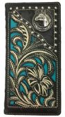 12 Units of Embroideried Hose Head Long Western Wallet Black - Leather Purses and Handbags