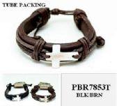 60 Units of Shell Cross Leather Bracelet