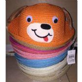 72 Units of CHILDREN'S STRAW HATS DOG DESIGN