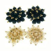 36 Units of Clip Earring black and white pearlesque with gold tone accent beads - Earrings