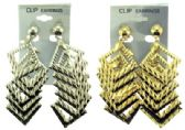 36 Units of Gold tone and silver tone dangle clip earring - Earrings