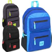 24 Units of 18 Inch Double Pocket Backpack - Boys