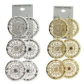 36 Units of Silver tone and gold tone French hook earring with multiple disc shaped dangles - Earrings