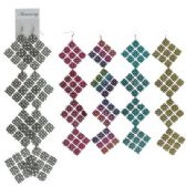 72 Units of French hook silver-tone square dangle earrings with a intricate design