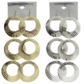 72 Units of Silver-tone and gold-tone French hook earring with multiple circle dangles