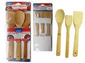 96 Units of 3 Piece Bamboo Utensils - Kitchen Utensils