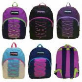 "24 Units of 17"" BUNGEE DESIGN BACKPACK - ASST COLORS - Backpacks 17"""