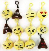 60 Units of Fluffy Emoji Key Chain Assorted Styles