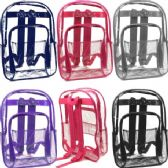 24 Units of Clear Backpacks Assorted Colors - Backpacks 17""
