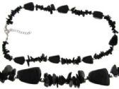 24 Units of Black onyx stone chip and chunk bead necklace - Necklace