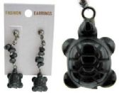 48 Units of Hematite post style earring with turtles