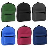 36 Units of 15 And Half Inche Backpacks In 6 Solid Colors