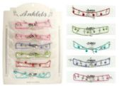 72 Units of Assorted color chain with matching bead and silver-tone cross dangles - Ankle Bracelets