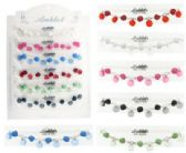 72 Units of Silver-tone chain anklet with nugget style acrylic beads and clear faceted acrylic disc dangles - Ankle Bracelets
