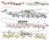 36 Units of Silver tone chain with assorted color star charms - Ankle Bracelets