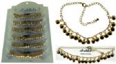 72 Units of Gold-tone chain with round shaped metal dangles - Ankle Bracelets