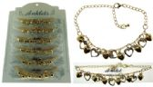 72 Units of Gold-tone chain with heart shaped dangle and crystal accents