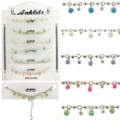 72 Units of Silver-tone chain with silver-tone and acrylic bead dangles