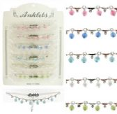 72 Units of Silver-tone chain with rhinestone accents and bead charms