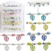 72 Units of Silver-tone chain with assorted color beads and assorted color leaf shaped dangles