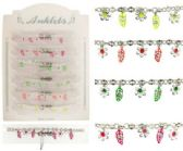 72 Units of Silver-tone chain with fluorescent enamel leaf dangles and silver-tone flowers